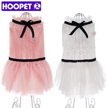 HOOPET летнее кружевное платье для детей домашних животных Одежда для собак кошек модный костюм 2 цвета щенок одежда Teddy >> HOOPET