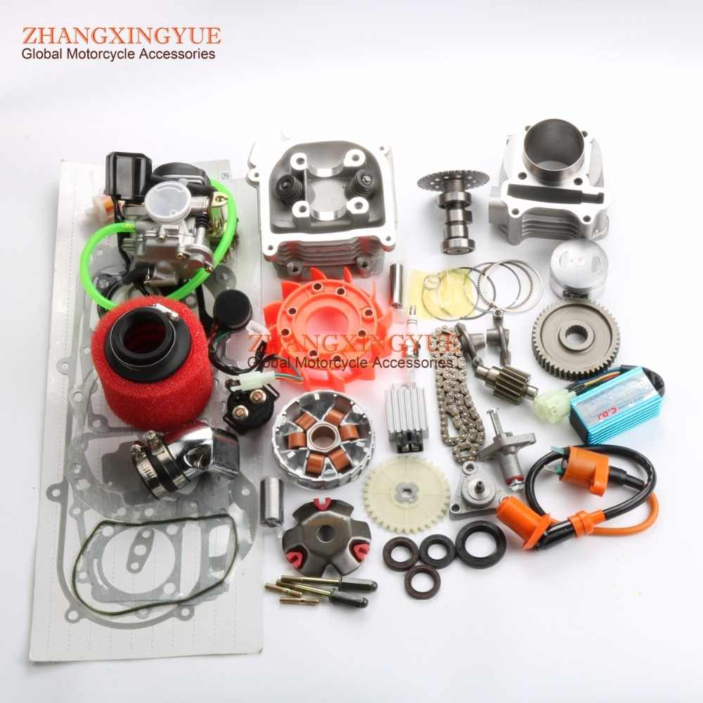 Kinerja 105cc Big Bore Kit & CDI AC & 20mm Kaliber A9 Cam untuk GY6 50cc 139QMB Cina Scooter Parts karburator 52mm Bore