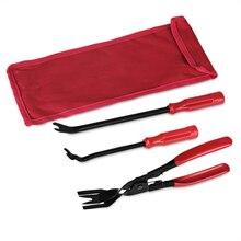3pcs/Set Auto Car Door Panel Remover Clip Trim Auto Fastener Pliers Puller Tool Retaining Clip Remover Pry Bar Tool + Nylon Bag