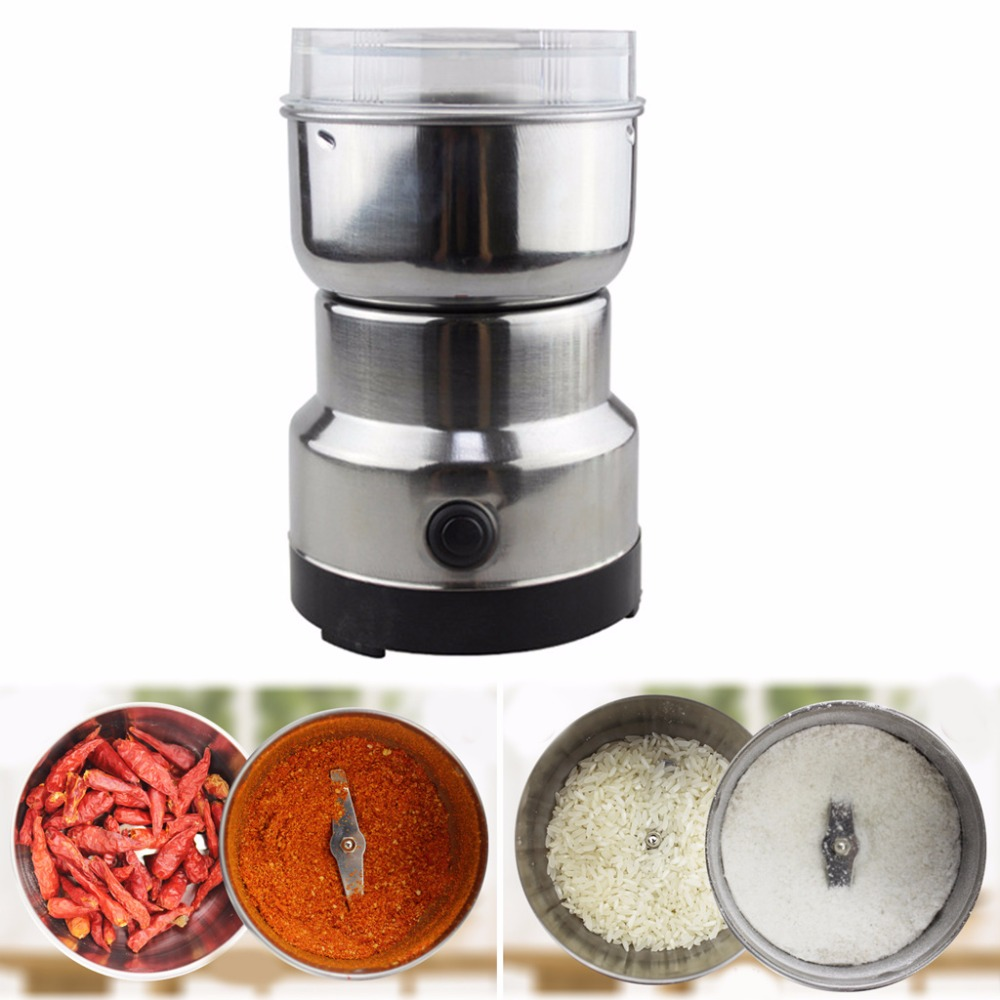 Free_on Multi-functional EU Plug 150W Coffee Grinder Stainless Electric Herbs/Spices/Nuts/Grains/Coffee Bean Grinding