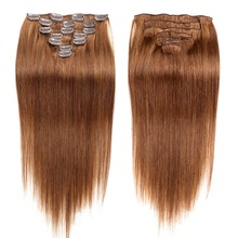 Clip-in Full Head Machine Made Remy Hair 160g 10pcs Thick Hair 100% Nature Human Hair Clip in Hair Extension Double Weft