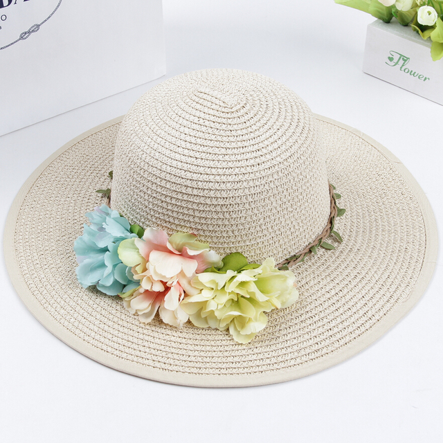 ( 7 цветов ) 2015 девушки летние шляпы новая шляпа соломенная Sun младенца с цветами, Дети летняя шляпа, Большой брим sunbonnet, Дети соломенные шляпы