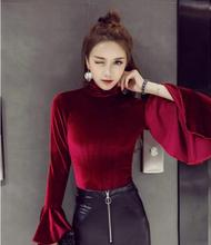 yomrzl A342 new arrival spring and autumn fashion women's t-shirt pleuche long sleeve top flare sleeve shirt