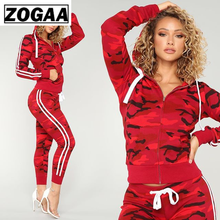 ZOGGA Hooded Camouflage Printed Jogging Suits for Women Breathable Spandex Fabric 2 Piece Fitness Set Running Sets 5 Color