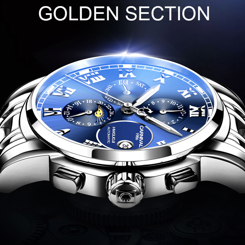 Reloj de negocios carnaval 2019 reloj luminoso automático para hombre reloj mecánico resistente al agua-in Relojes mecánicos from Relojes de pulsera    3