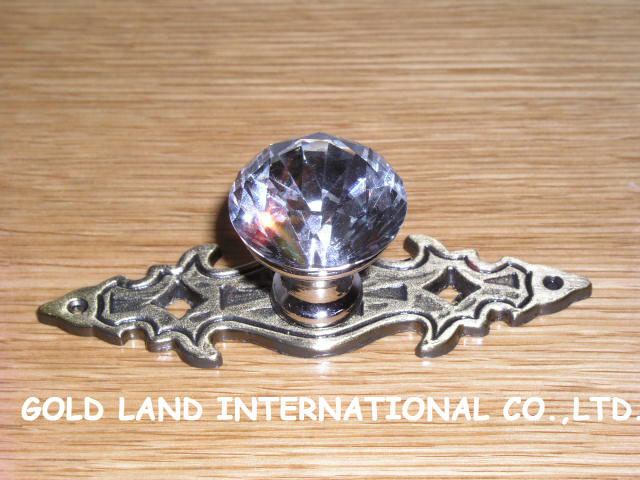 L84mm Free shipping K9 crystal glass hot sale furniture handle / drawer handle