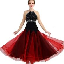 Ballroom Dance Dresses Long Sleeve foxtrot Dancing Skirt  Women Stage Waltz Dress red black MQ064