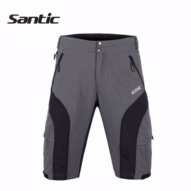 SANTIC New Gray Polyester Mountain Bike Cycling Shorts Breathable Quick Dry MTB Shorts Loose Fit Downhill Men Cycling Clothing ckahsbi winter long sleeve men uv protect cycling jerseys suit mountain bike quick dry breathable riding pants new clothing sets
