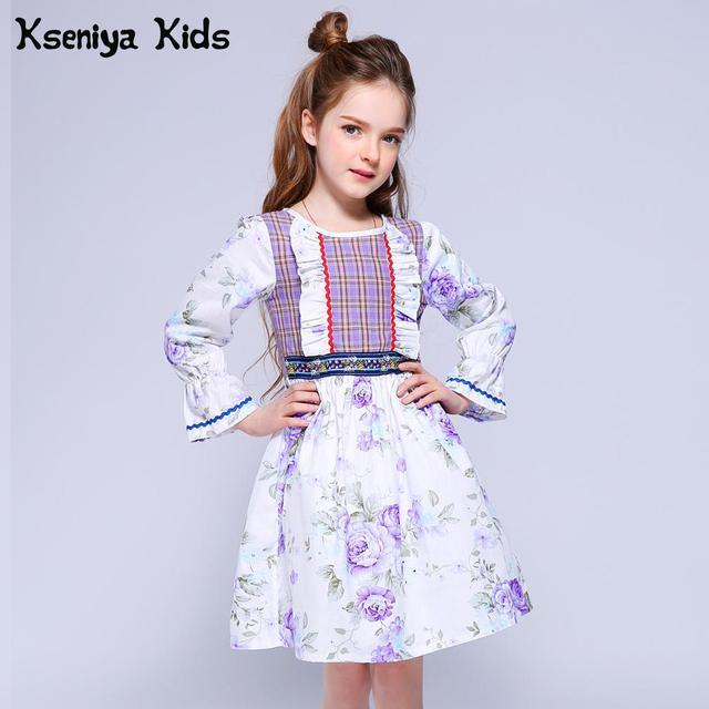 Kseniya Kids 2018 Girls Dresses Puff Sleeve Retro Design Plaid Print Color Princess Girl Party Dress Cotton Summer Purple Dress