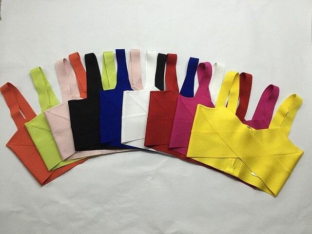9 Colores Colorido Cabestrillo Negro Verde Amarillo Naranja Celebrity Top Corto Partido Rayon Vendaje Superior