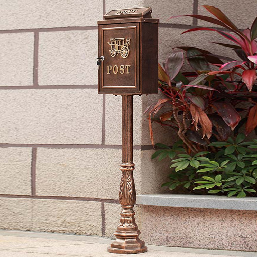 High quality stand alone cast aluminum decorative mail boxes outdoor maibox aluminum letter box for home decor