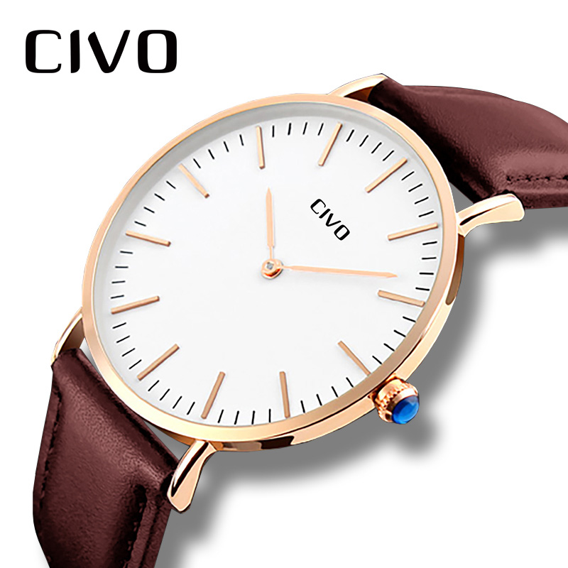 CIVO Ultra Thin Watch For Men Top Brand Luxury Waterproof Quartz Wristwatch Simple Classic Design Genuine Leather Analogue Watch