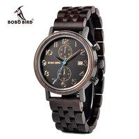Bobo pássaro negócios aço inoxidável relógio de pulso mão crafted madeira para homem com exibição de data