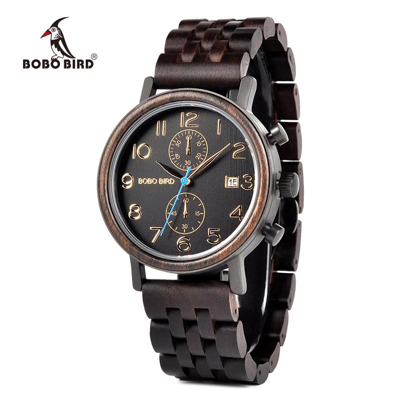 Montre BOBO BIRD Business en acier inoxydable montre-bracelet en bois fabriquée à la main pour hommes avec affichage de la Date