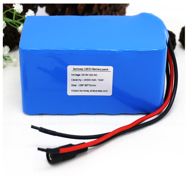 Sunway 7S 24V 25.9V 29.4V 10Ah 18650 lithium battery pack electric bicycle light weight ebike Li-ion batteries built in 15A BMS