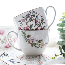 750 مللي 25 OZ مج China كوب سيراميك ل القهوة الحليب الحبوب الشاي الفورية الشعرية الإبداعية روز الطيور زهرة نمط DEC434