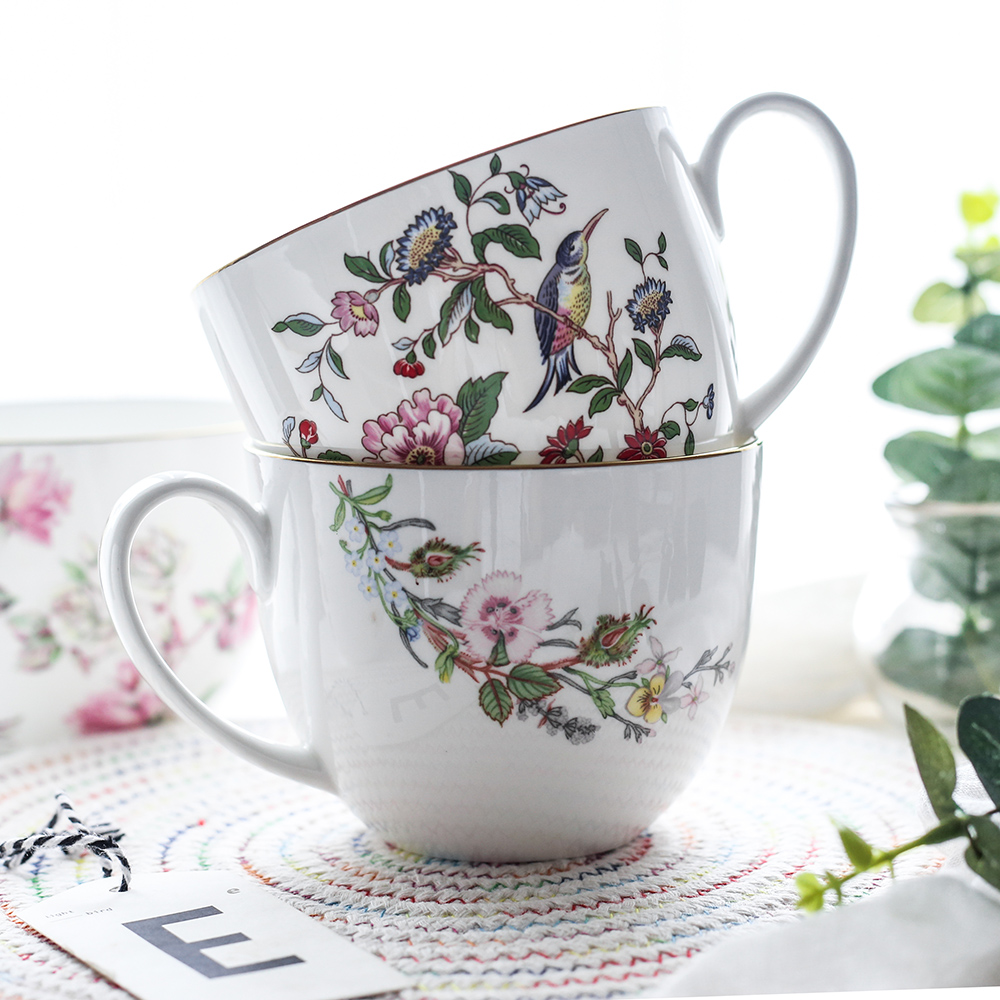 750 ml 25 OZ Bone China Mug Ceramic Cup for Coffee Milk Cereal Tea Instant Noodles Creative Rose Bird Flower Pattern DEC434
