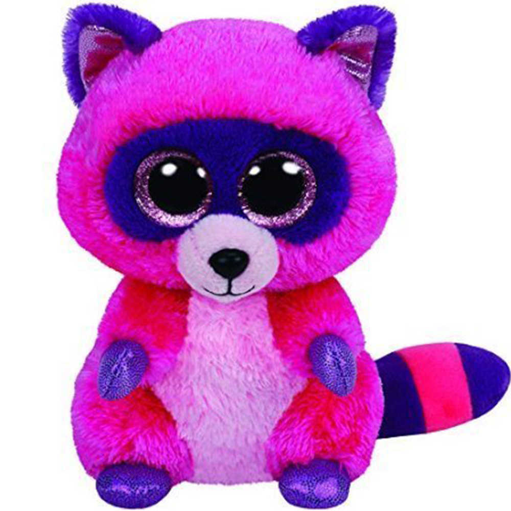 """Pyoopeo Ty бини Боос 6 """"15 см Рокси розовый/фиолетовый енот плюшевый обычный чучело Коллекционная кукла игрушка с биркой в виде сердца"""
