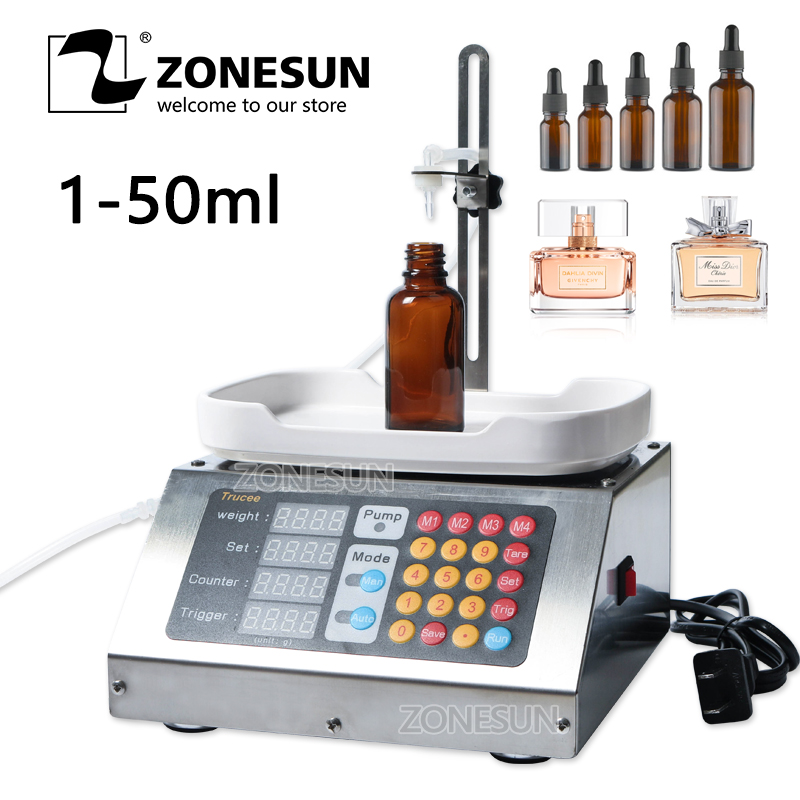 ZONESUN 0 50ml Small Automatic CNC Liquid Filling Machine 110V 220V Perfume Weighing Filling Machine Oral