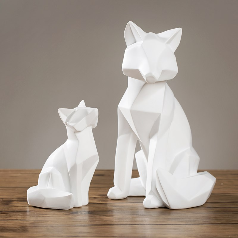 Creative Modern Abstract White Fox Statues Sculptures Geometric Aanimal Figurine Sculpture For Home Decorations Bar Cafe