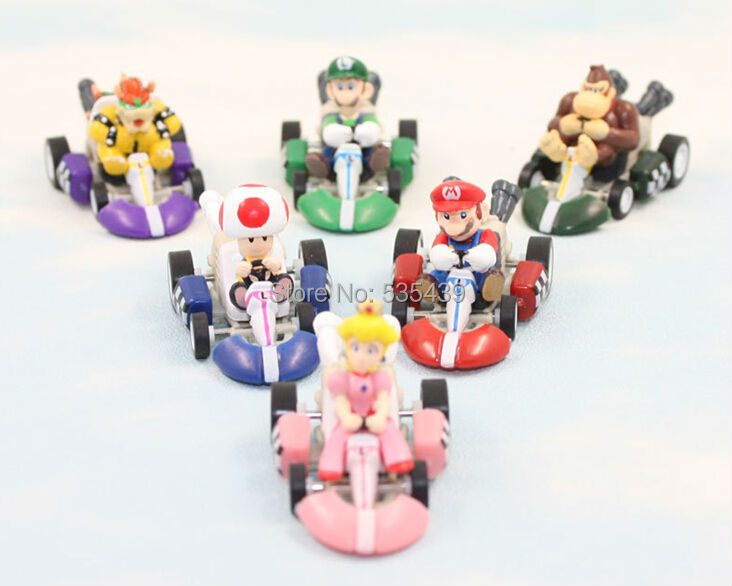 hot ! NEW 6PCS/set Super Mario Bros Kart Pull Back Car action figure toys Christmas toy