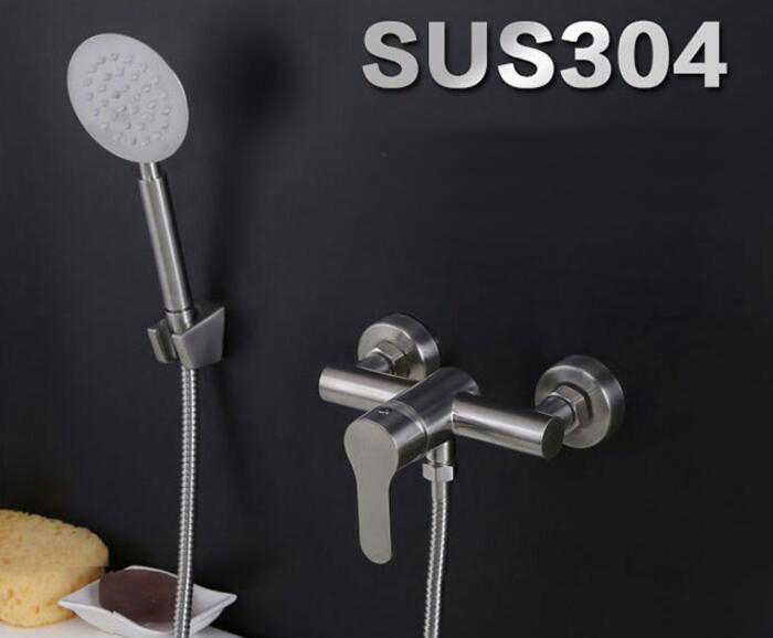 Free shipping 304 stainless steel bath faucet shower brushed nickel hand Shower Set Faucet Wall Mounted bathtub shower set IS55