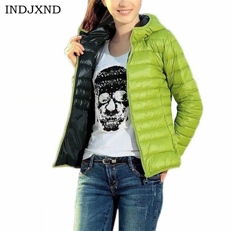 INDJXND Winter   Jacket   Autumn Winter Women   Basic     Jacket   Coat Female Slim Hooded Brand Short Cotton Coats Casual Black   Jackets
