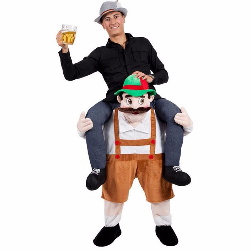Mens Adult Carry Me Novelty Ride On Mascot Christmas Fancy Dress Costume Outfit