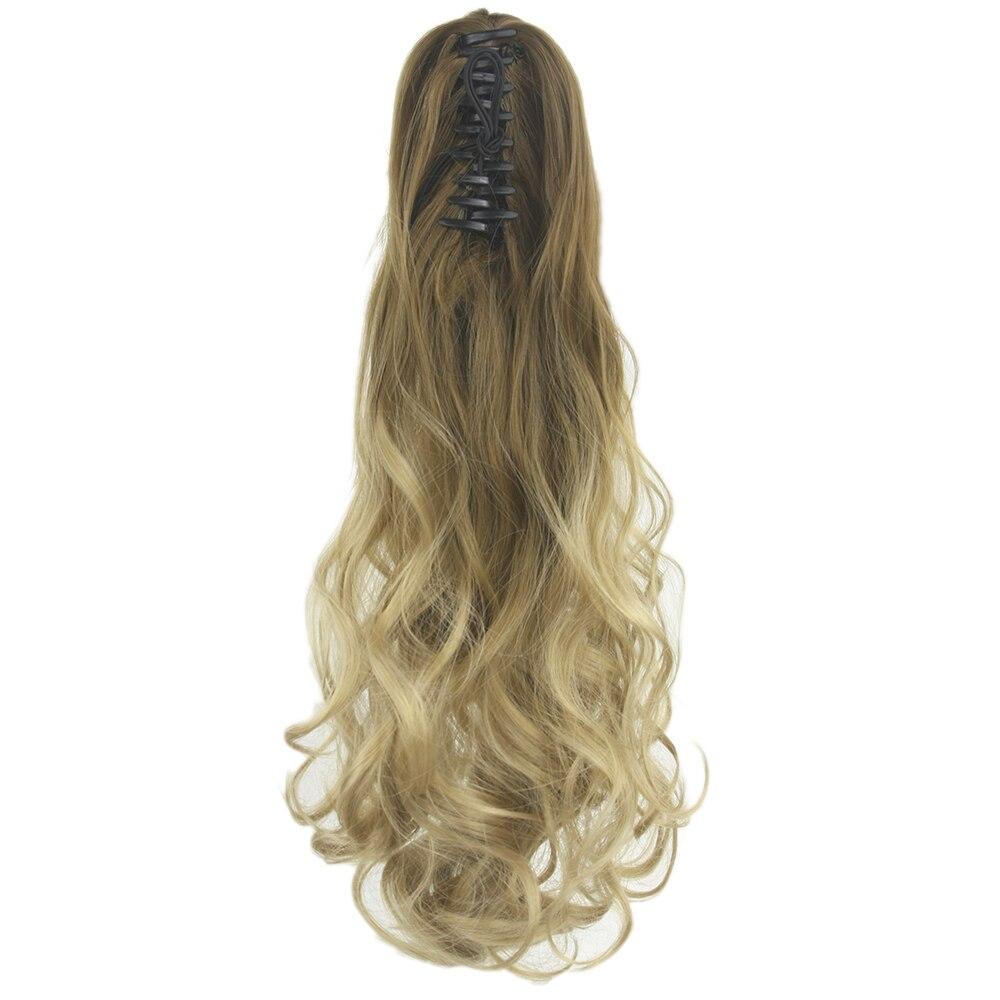 Soowee-coleta de pelo largo sintético para mujer, postizo de cola de caballo rizado marrón degradado, extensión de Cabello, Postizos