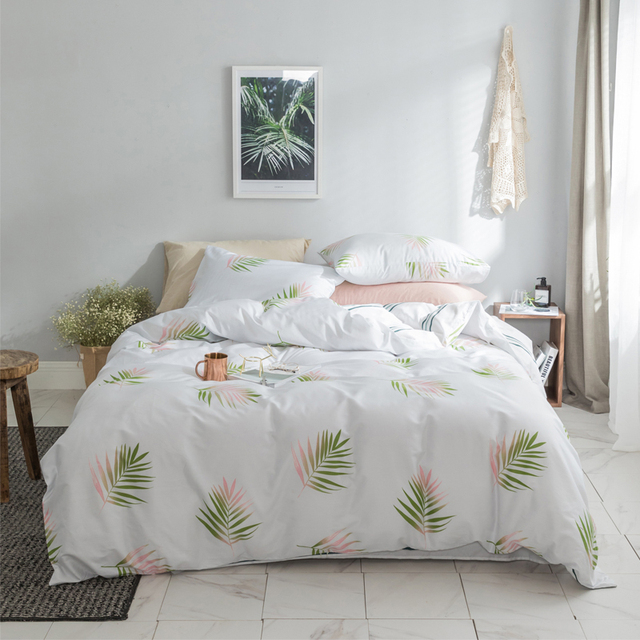 White Green Color Kids S Twin Queen King Size Bedding Set Egyptian Cotton Soft Bedclothes Leaf Duvet Cover Bed Sheet