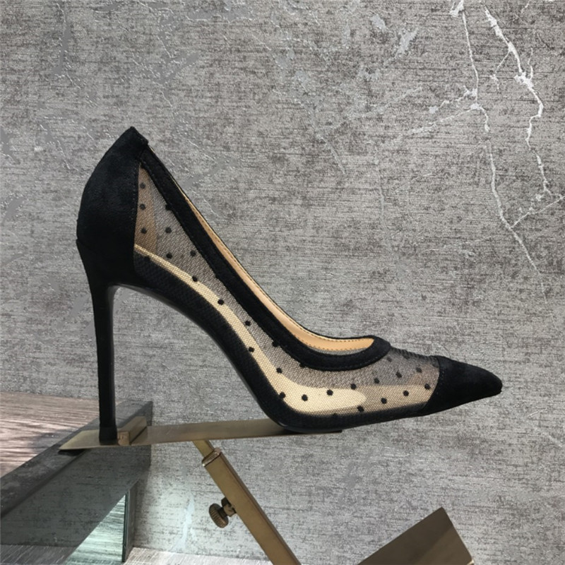 Free Shipping Fashion Casual Women Pumps Black Mesh Dot Point Toe High Heels Shoes 10cm 8cm Party Shoes