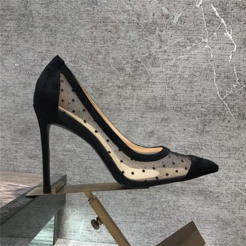 شحن مجاني عارضة الازياء المرأة مضخات شبكة سوداء نقطة بوينت تو الكعوب العالية أحذية 10 cm 8 cm أحذية الحفلات-في أحذية نسائية من أحذية على  مجموعة 1