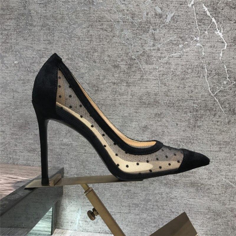 Livraison gratuite mode décontracté femmes pompes noir maille point orteil chaussures à talons hauts 10 cm 8 cm chaussures de fête-in Escarpins femme from Chaussures    1
