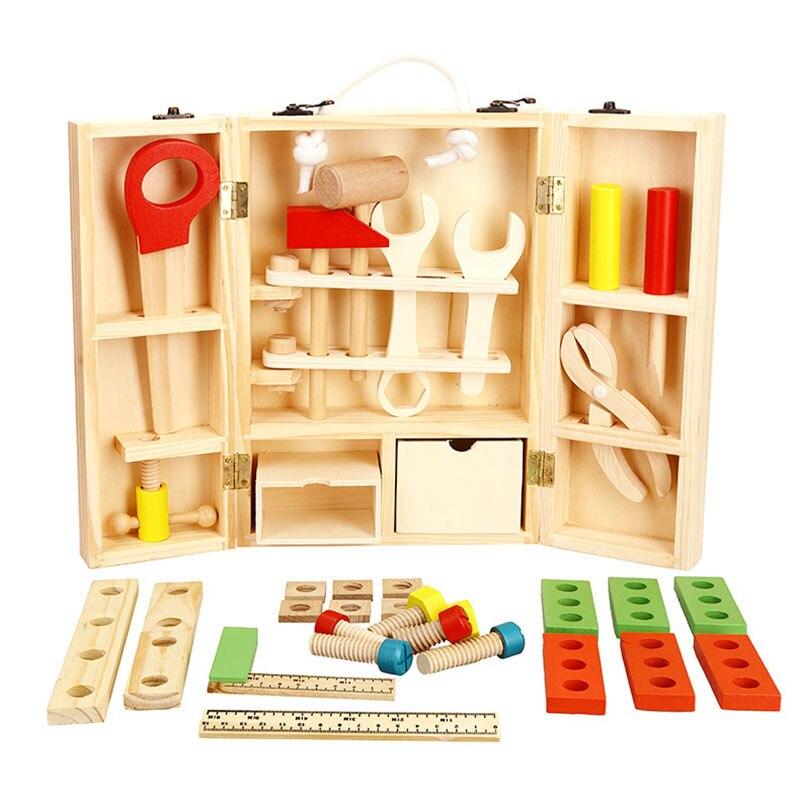 Bricolage Simulation multifonction Maintenance boîte à outils Portable semblant jouer en bois jouet jouets éducatifs cadeaux pour enfants enfants