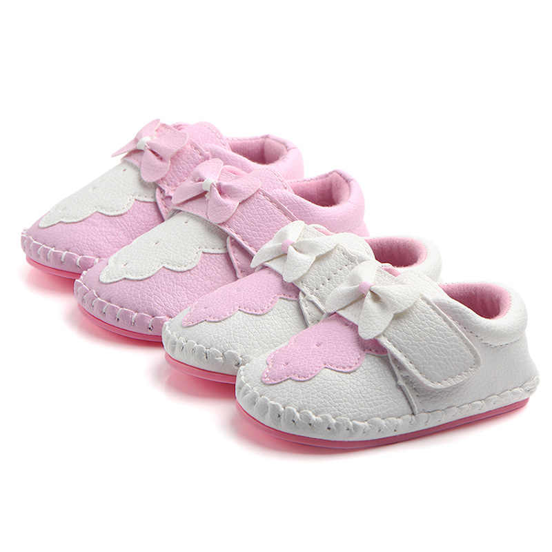 Sweet Newborn Baby Girls Sneakers Crib Footwear Pink White Bowknot Rubber Sole Infant Toddler First Walker Outdoor Sports Shoe