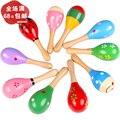 2 шт./лот Деревянный колокольчик развивающие игрушки многоцветной стержень песок молоток раннего обучения и образовательные игрушки