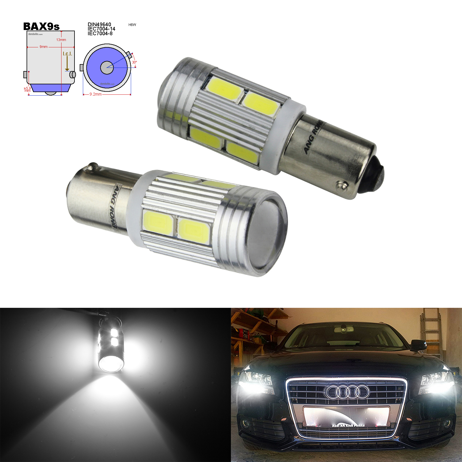 ANGRONG 2x H6W BAX9s 10 SMD LED 433 434 Bulb Indicator Reverse Parking Side Light White