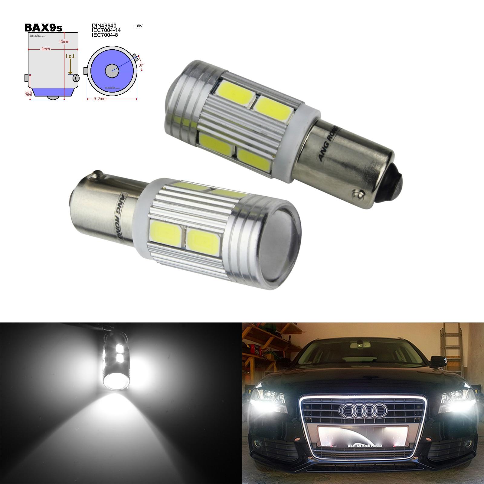 2x LED HID XENON WHITE SIDE LIGHT 433 434 H6W BAX9S OFFSET CAP UK FREE P/&P