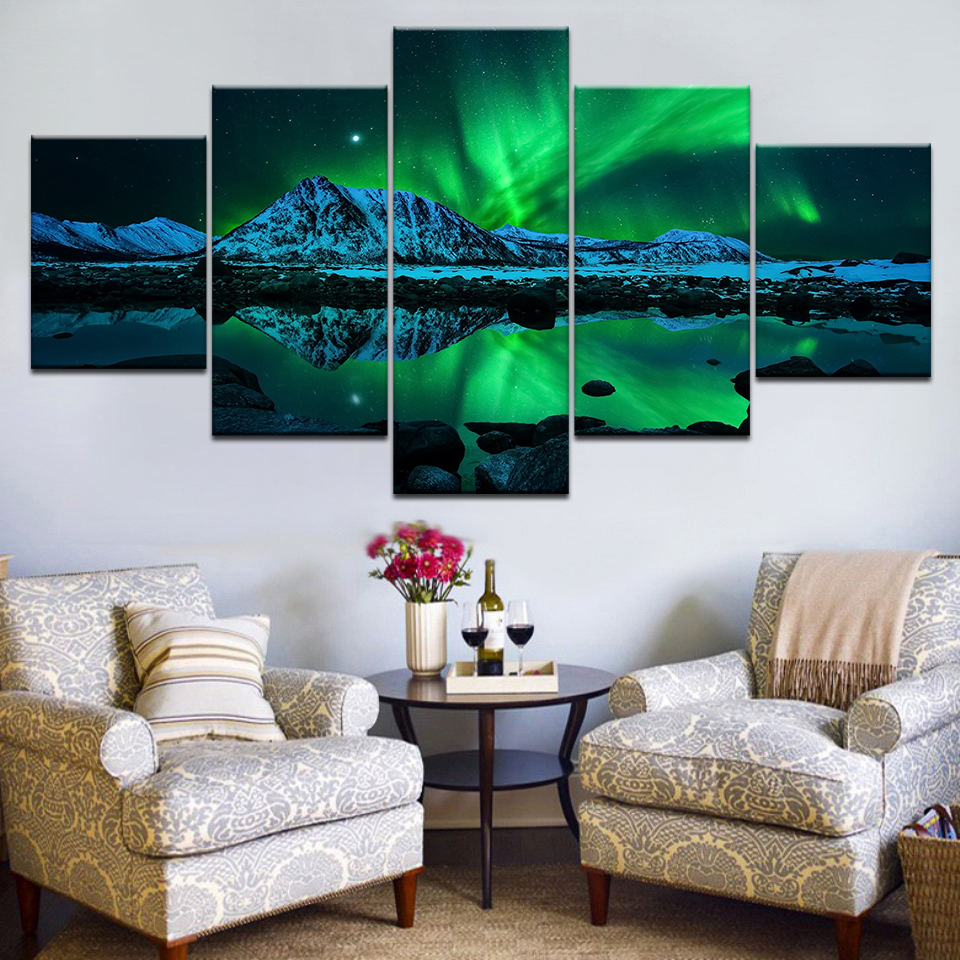 Wall Art Poster Modern Home Decor Living Room 5 Pieces Northern Lights Over Snow Mountain Norway Landscape Canvas Painting Frame
