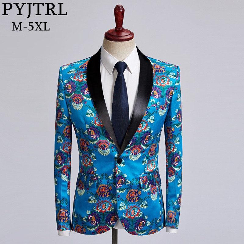 PYJTRL Sky Blue Bloemenprint Jasje Man Mode Vrije Tijd Casual Slim Fit Blazer Plus Size Podium Zanger Bruiloft kostuum-in Blazers van Mannenkleding op  Groep 1