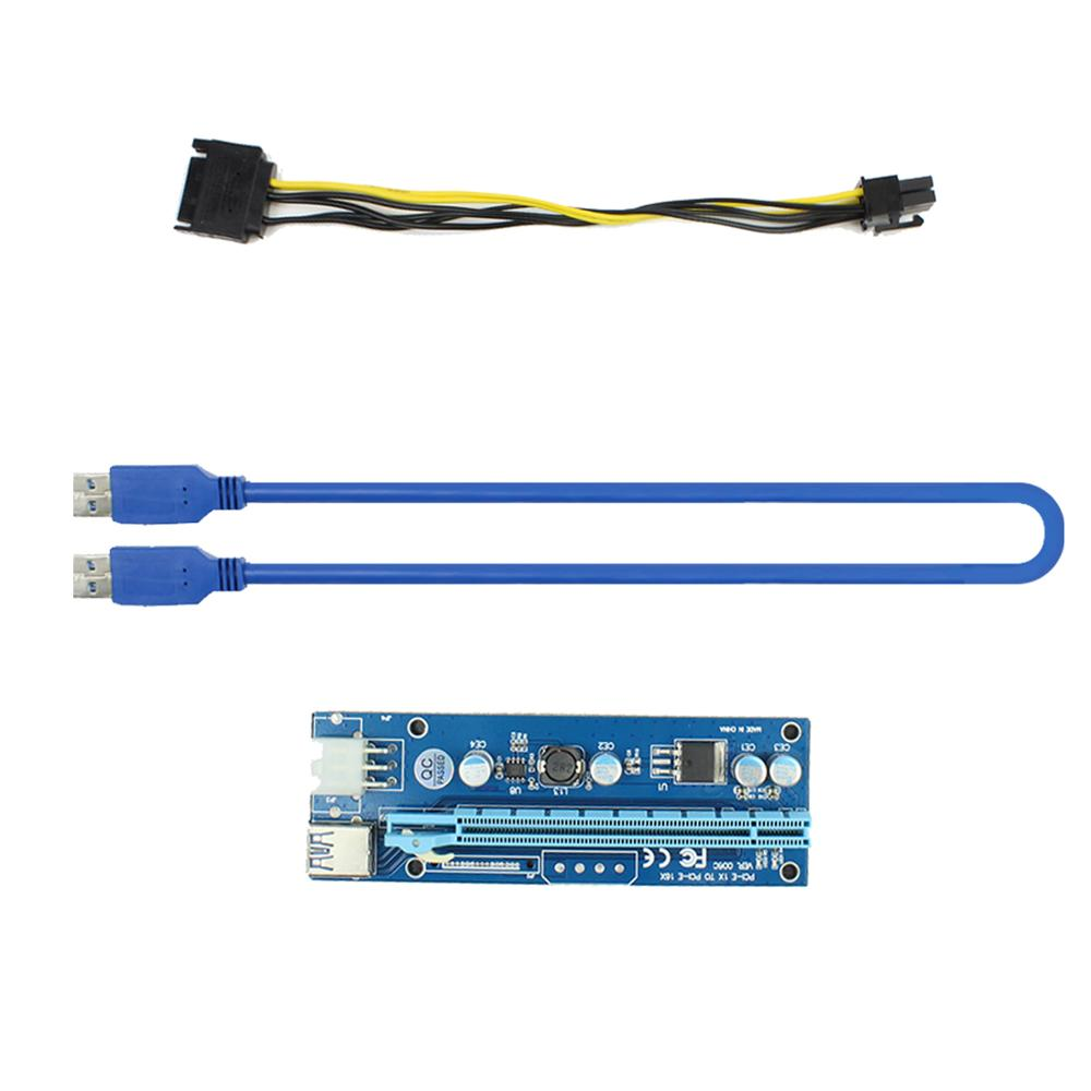 PCI-E Raiser PCI E Express 1X To 16X Riser Card USB 3.0 PCI-E SATA To 6Pin Power Cable For BTC Bitcoin Mining Antminer Miner