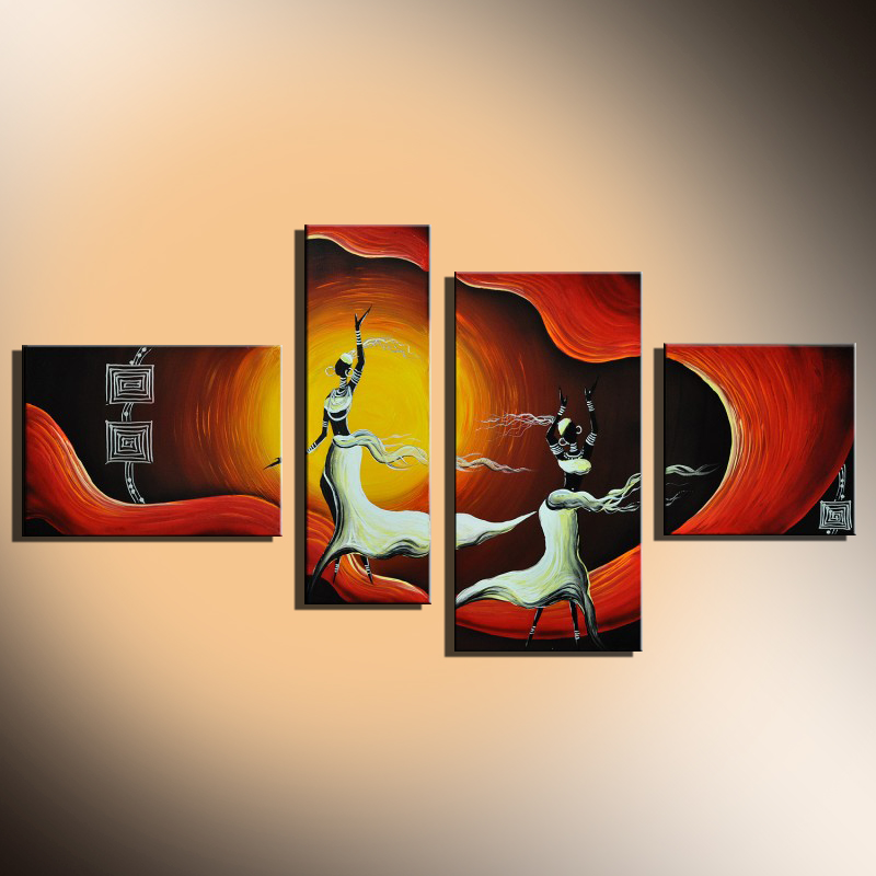 African Woman Dancing Group 4 Panels Canvas Art Abstract African