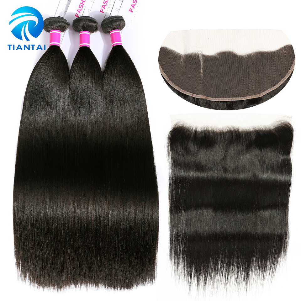 TIANTAI Straight Hair 3 Bundles With Ear To Ear 13X4 Free Part frontal Brazilian Human Hair Bundles With Closure Non Remy Hair