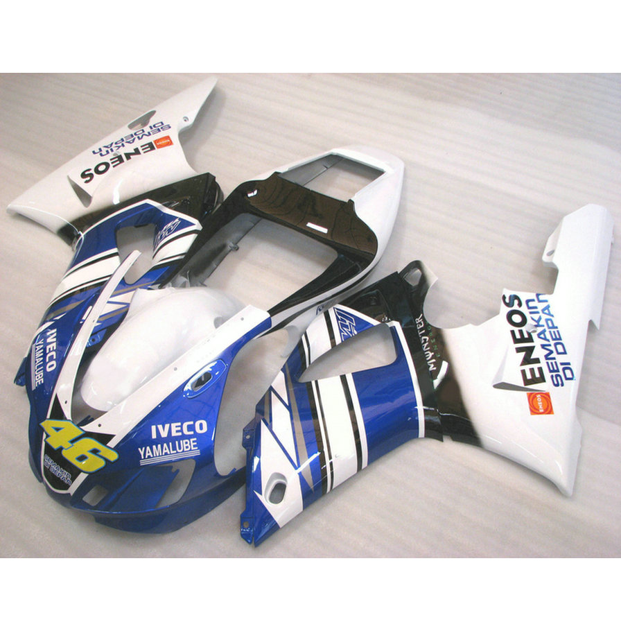 Custom free 100% fit injection factory fairings kit for 1998 1999 YAMAHA YZF R1 98 99 YZFR1 blue white aftermarket fairing kits  custom free 100