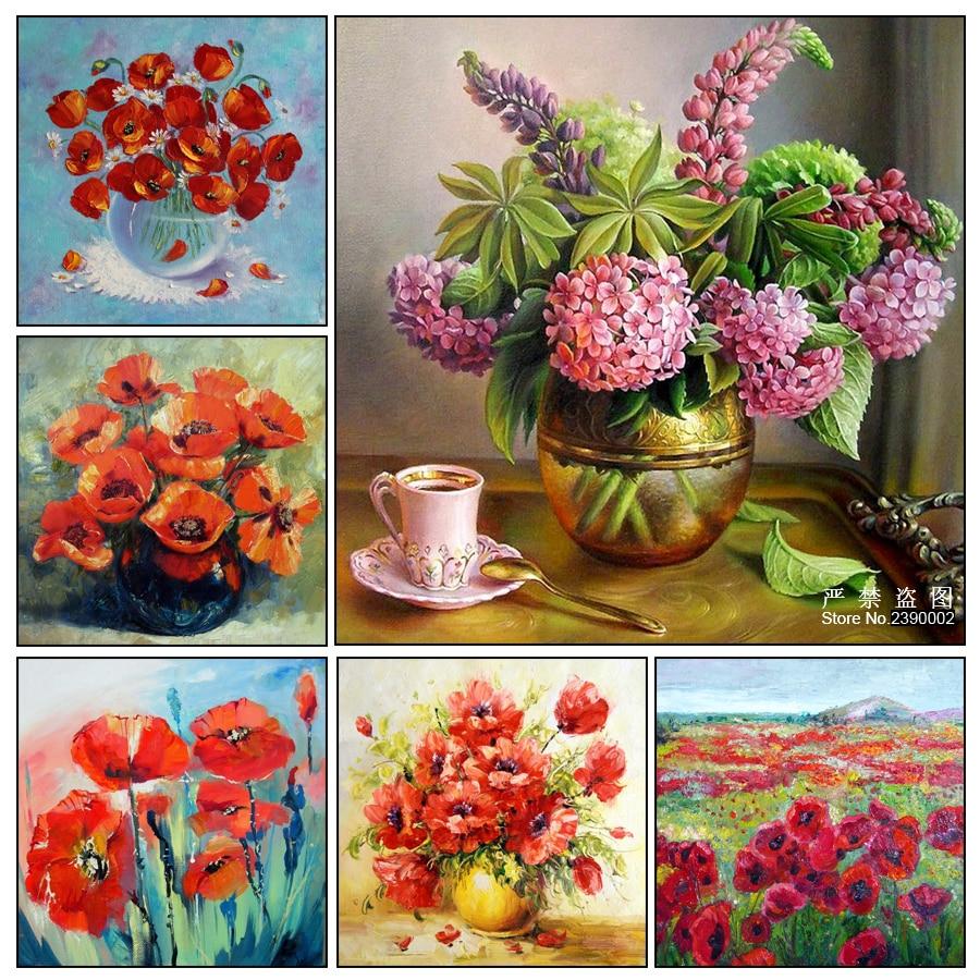 New 5D DIY Diamond Painting Red Flower Vase 3D Cross Stitch Diamond Embroidery Mosaic Diamonds Wall Stickers Home Decor
