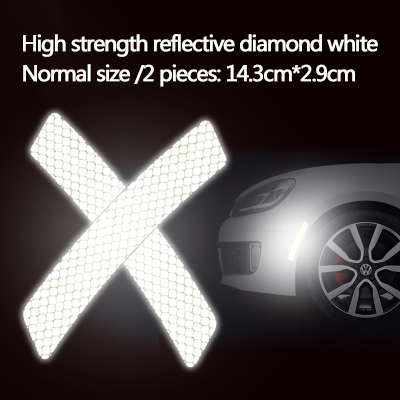 2x 14*2.3cm Car Bumper Reflective Warning Strip Decal Stickers Auto Supplies lc