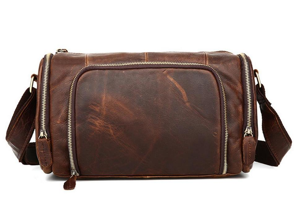 2017 Brand New Genuine Cowhide Men Vintage Crazy Horse Leather Male Cross-body Solid Hangbag Travel Shoulder Messenger Bag