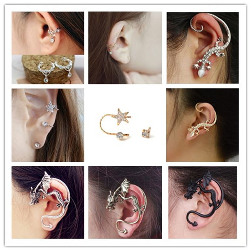 Wholesale Fashion Exaggeration Punk Unicorn Dragon Ear Cuff Earring Vintage Luxury Gecko Lizard Statement Jewelry Handmade