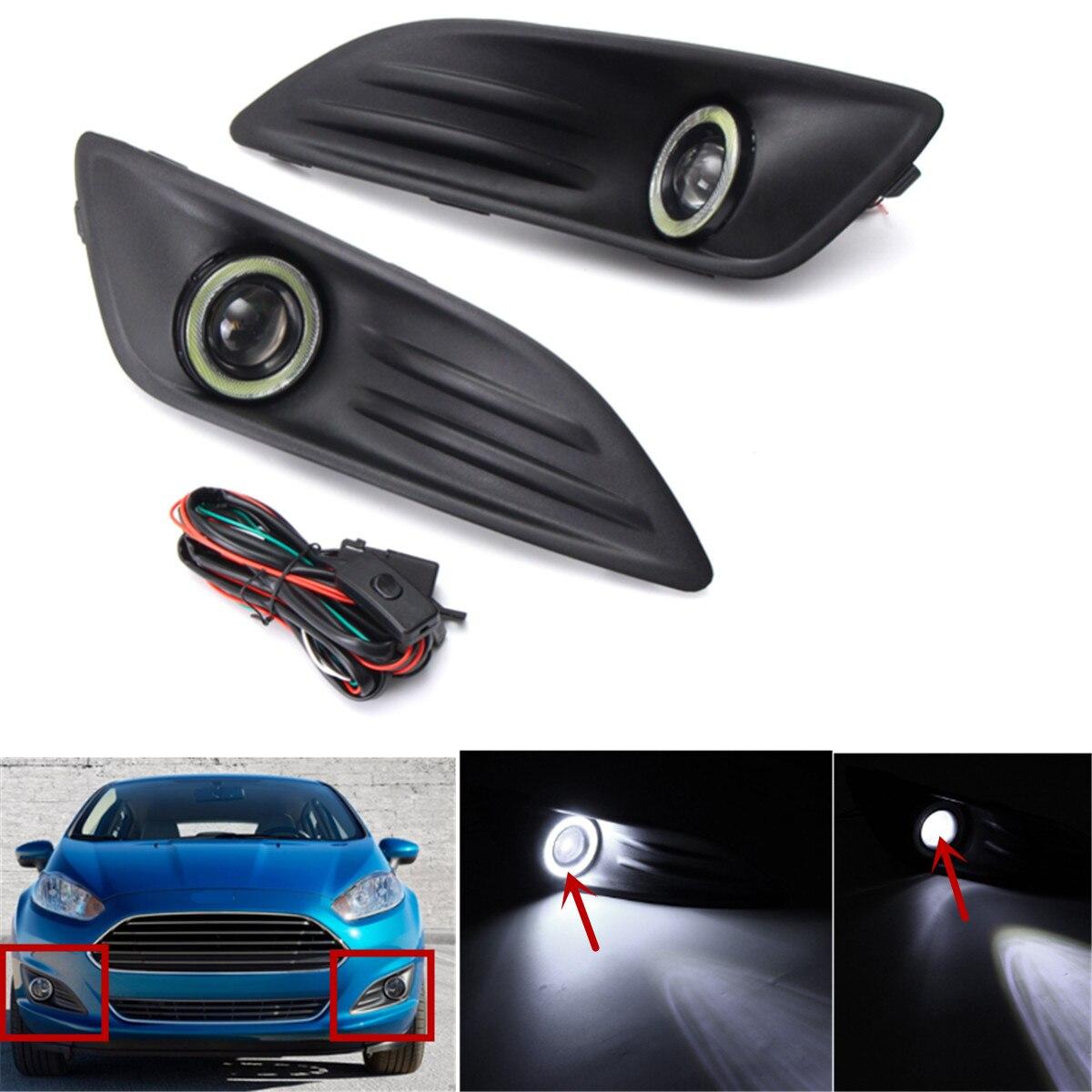1 paire Voiture En Plastique Noir Pare-chocs Avant Brouillard Lumière D'ange Yeux Câblage Harnais Daytime Running Light Kit pour Ford Fiesta 2013-2016