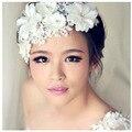 Nupcial simulada-perla cordón vendas de la flor Tiaras de la corona de accesorios para el cabello joyería Coroa de Noiva acessório para cabelo